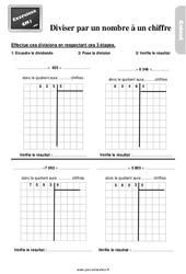 Exercices, révisions sur la division par un nombre à un chiffre au Cm1 avec les corrections