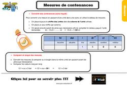 Leçon, trace écrite sur les mesures de contenances au Cm1