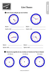 Exercices, révisions sur lire l'heure au Cm1 avec les corrections