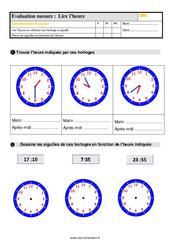 Évaluation, bilan sur lire l'heure au Cm1 avec la correction