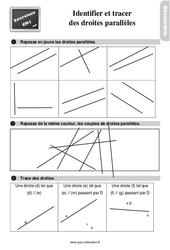 Exercices, révisions sur identifier et tracer des droites parallèles au Cm1 avec les corrections