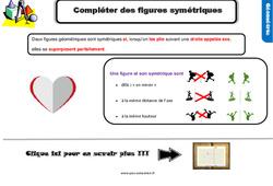 Leçon, trace écrite sur comment compléter des figures symétriques au Cm1