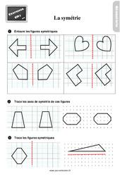 Exercices, révisions sur comment compléter des figures symétriques au Cm1 avec les corrections