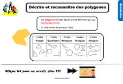 Leçon, trace écrite sur décrire et reconnaître des polygones au Cm1