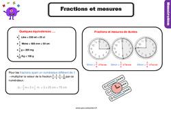 Leçon, trace écrite sur les fractions et les mesures au Cm1