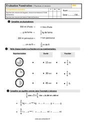 Évaluation, bilan sur les fractions et les mesures au Cm1 avec la correction