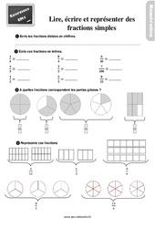 Exercices, révisions sur lire, écrire et représenter des fractions simples au Cm1 avec les corrections