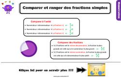 Leçon, trace écrite sur comparer et ranger des fractions simples au Cm1