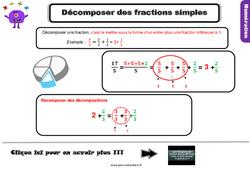 Leçon, trace écrite sur décomposer des fractions simples au Cm1