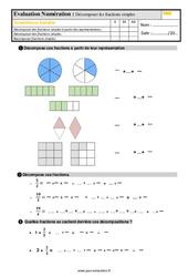 Évaluation, bilan sur décomposer des fractions simples au Cm1 avec la correction