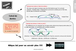 Leçon, trace écrite sur le calcul de durées au Cm1