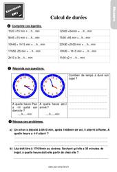 Exercices, révisions sur le calcul de durées au Cm1 avec les corrections