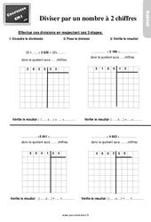 Exercices, révisions sur diviser par un nombre à deux chiffres au Cm1 avec les corrections