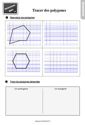 Exercices, révisions sur tracer des polygones au Cm1 avec les corrections