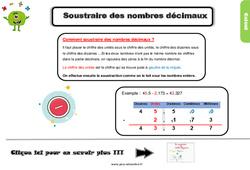 Leçon, trace écrite sur soustraction des nombres décimaux au Cm1