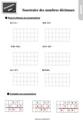 Exercices, révisions sur soustraction des nombres décimaux au Cm1 avec les corrections