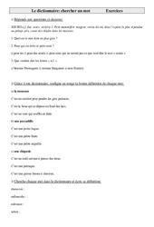 Dictionnaire - Chercher un mot  - Ce2 – Exercices – Vocabulaire