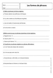 Formes de phrases - 6ème – Révisions – Forme affirmative et négative