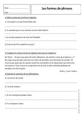 Affirmative et négative – 6ème – Exercices sur les formes de phrases