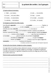 Présent - 6ème - Exercices sur les 3 groupes de verbes