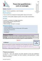 Tracer des quadrilatères : carré et rectangle – Cm1 – Fiche de préparation