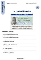 La carte d'identité – Cm1 – Lecture compréhension