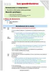Quadrilatères - Fiche de préparation - Cm1