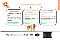 Leçon, trace écrite sur les différents niveaux de langue au Cm1