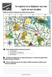 Exercices, révisions sur se déplacer et se repérer sur une carte ou sur un plan au Cm2 avec les corrections