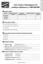 Exercices, révisions sur lire, écrire et décomposer des nombres inférieurs à 1 000 000 000 au Cm2 avec les corrections