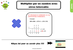 Leçon, trace écrite sur multiplier par un nombre avec zéros intercalés au Cm2
