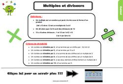Leçon, trace écrite sur les multiples et les diviseurs au Cm2
