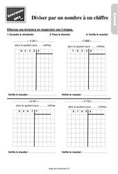 Exercices, révisions sur diviser par un nombre à un chiffre au Cm2 avec les corrections