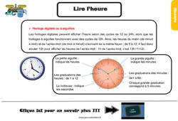 Leçon, trace écrite sur lire l'heure au Cm2