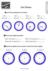 Exercices, révisions sur lire l'heure au Cm2 avec les corrections