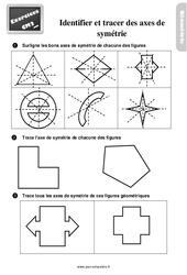 Exercices, révisions sur identifier et tracer des axes de symétrie au Cm2 avec les corrections