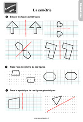 Exercices, révisions sur compléter des figures symétriques au Cm2 avec les corrections