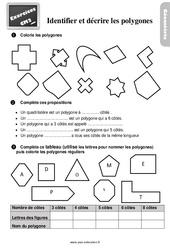 Exercices, révisions sur décrire et reconnaitre des polygones au Cm2 avec les corrections