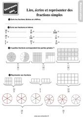 Exercices, révisions sur lire, écrire et représenter des fractions simples au Cm2 avec les corrections