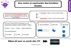 Leçon, trace écrite sur lire, écrire et représenter des fractions simples au Cm2