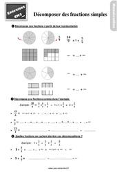 Exercices, révisions sur décomposer des fractions simples au Cm2 avec les corrections