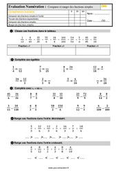 Évaluation, bilan sur comparer et ranger des fractions simples au Cm2 avec la correction