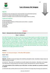 Les niveaux de langue – Fiche de préparation – Cm1