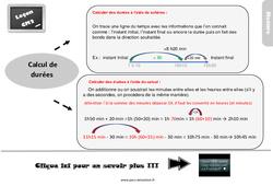 Leçon, trace écrite sur le calcul de durées au Cm2