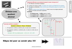 Leçon, trace écrite sur la division avec quotient décimal au Cm2