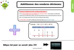 Leçon, trace écrite sur l'addition des nombres décimaux au Cm2