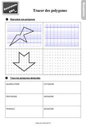 Exercices, révisions sur tracer les polygones au Cm2 avec les corrections