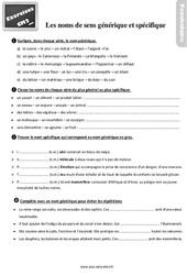 Exercices, révisions sur les noms de sens générique et spécifique au Cm2 avec les corrections