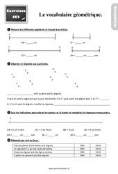 Exercices, révisions sur le vocabulaire géométrique au Ce2 avec les corrections