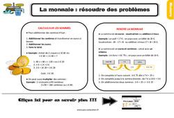 Leçon, trace écrite sur la monnaie : résoudre des problèmes au Ce2